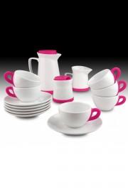 Kütahya Porselen 17 Parça Çay Seti Pembe - Thumbnail