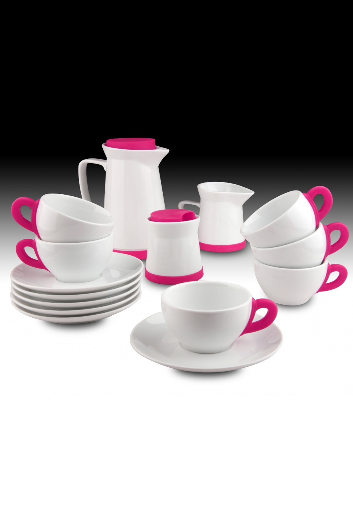 Kütahya Porselen - Kütahya Porselen 17 Parça Çay Seti Pembe