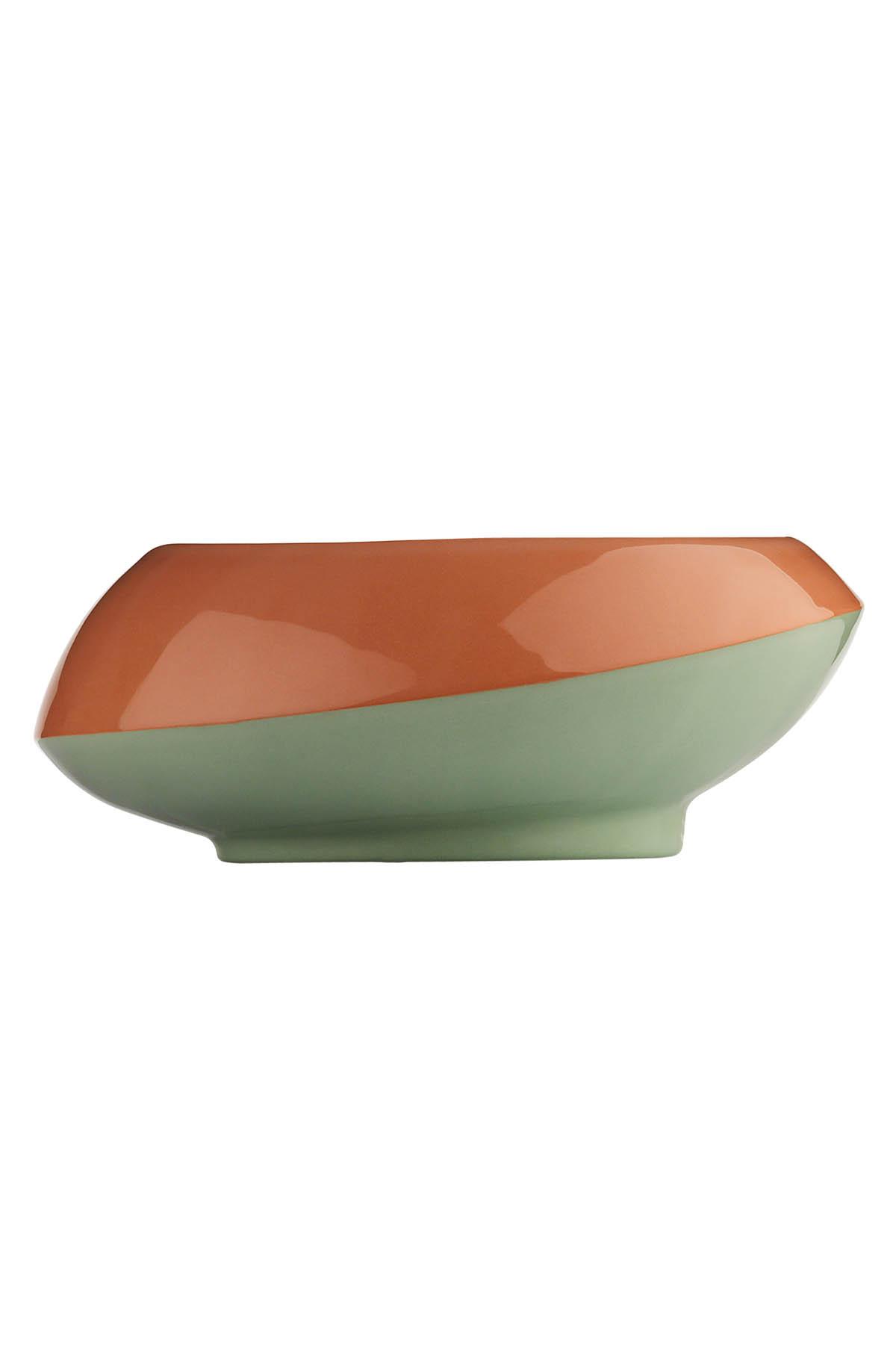Kütahya Porselen - Aura 23 cm Kase 3 Renkli Yeşil-Kırmızı-Siyah