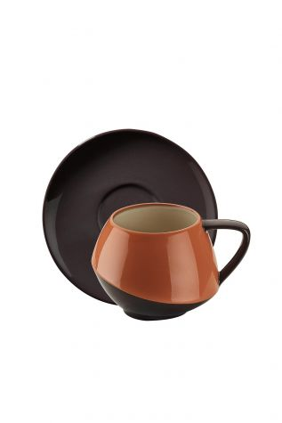 Aura Çay Takımı Siyah-Kırmızı-Bej - Thumbnail (1)