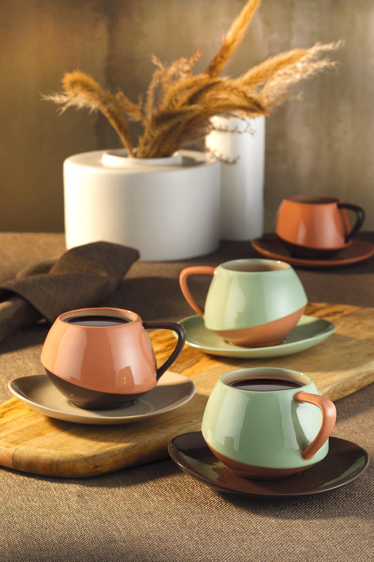 Kütahya Porselen - Aura Çay Takımı Siyah-Krem-Bej-Kırmızı