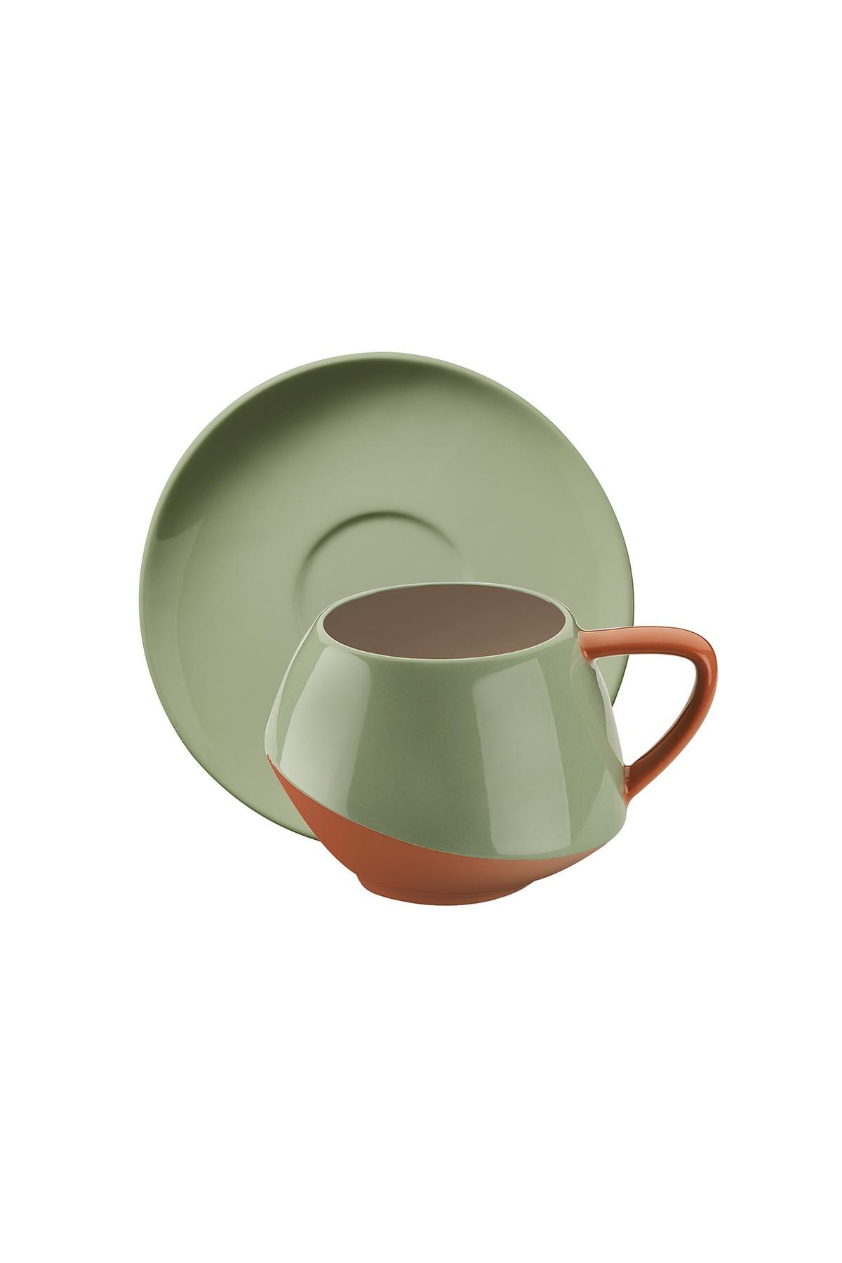 Kütahya Porselen - Aura Çay Takımı Krem-Yeşil-Bej-Kırmızı