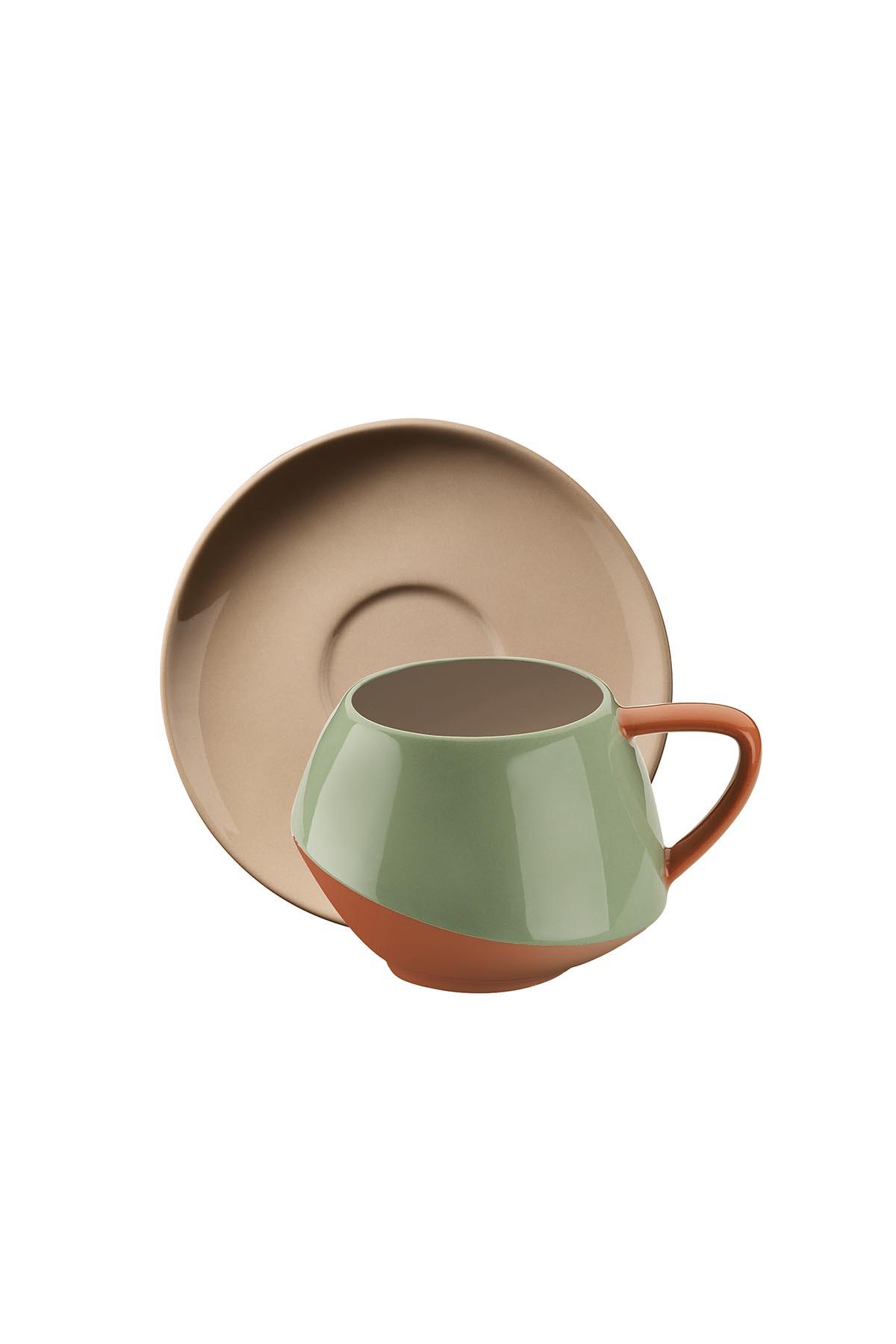 Aura Çay Takımı Yeşil-Bej-Kırmızı