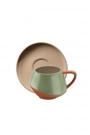 Aura Çay Takımı Yeşil-Bej-Kırmızı - Thumbnail