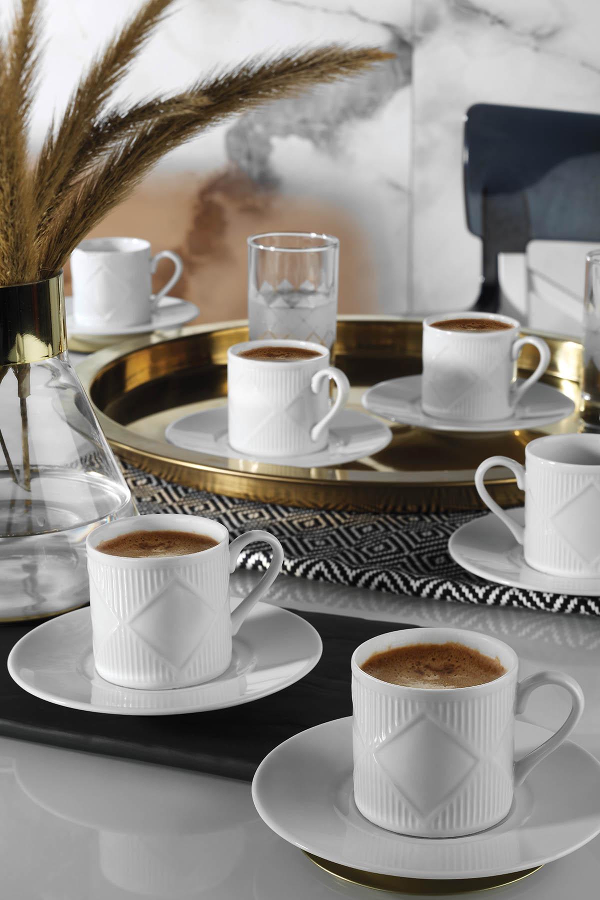 KÜTAHYA PORSELEN - Eren Türk Kahvesi Takımı 12 Parça 6 Kişilik Dekors