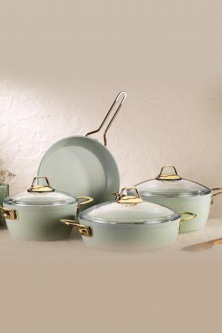 Kütahya Porselen - Kütahya Porselen Hera 7 Parça Tencere Seti Açık Yeşil