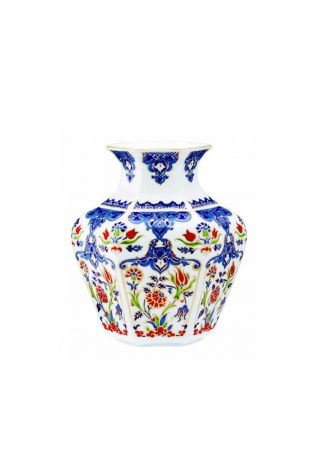 KÜTAHYA PORSELEN - Köşeli Vazo 15 cm Dekor No:415