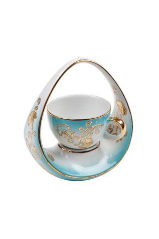 Kütahya Porselen - Kütahya Porselen El Yapımı Sepet Kahve Fincan Turkuaz