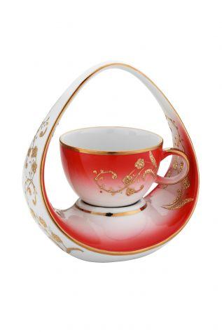 Kütahya Porselen - Kütahya Porselen El Yapımı Sepet Kahve Fincan Kırmızı