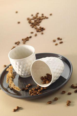 Kütahya Porselen - Kütahaya Porselen Favo 2'li Espresso Kahve Seti Krem