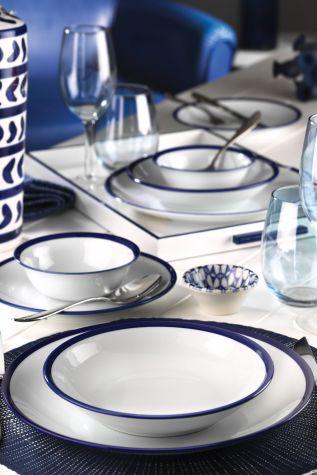 Kütahya Porselen - Kütahya Porselen 24 Parça Lacivert Fileli Yemek Seti