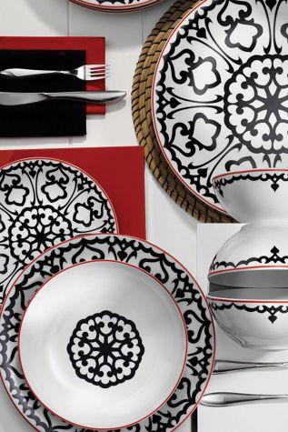 Kütahya Porselen - Kütahya Porselen 596612 Desen 24 Parça Yemek Seti Siyah
