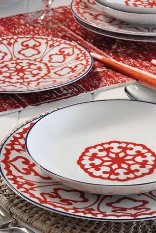 Kütahya Porselen 596617 Desen 24 Parça Yemek Seti Kırmızı - Thumbnail (1)