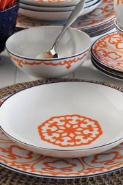 Kütahya Porselen 596619 Desen 24 Parça Yemek Seti Turuncu - Thumbnail