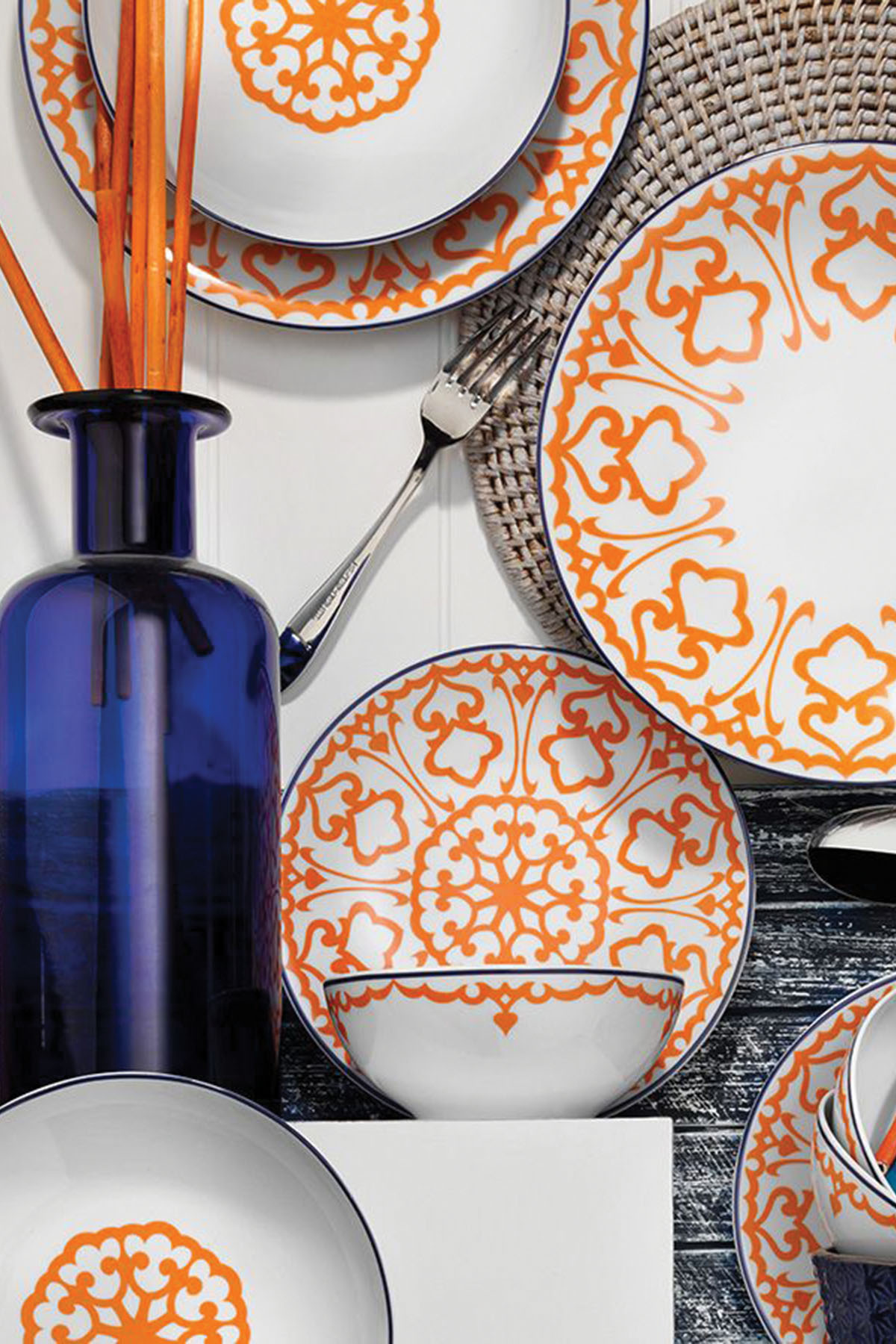 Kütahya Porselen - Kütahya Porselen 596619 Desen 24 Parça Yemek Seti Turuncu