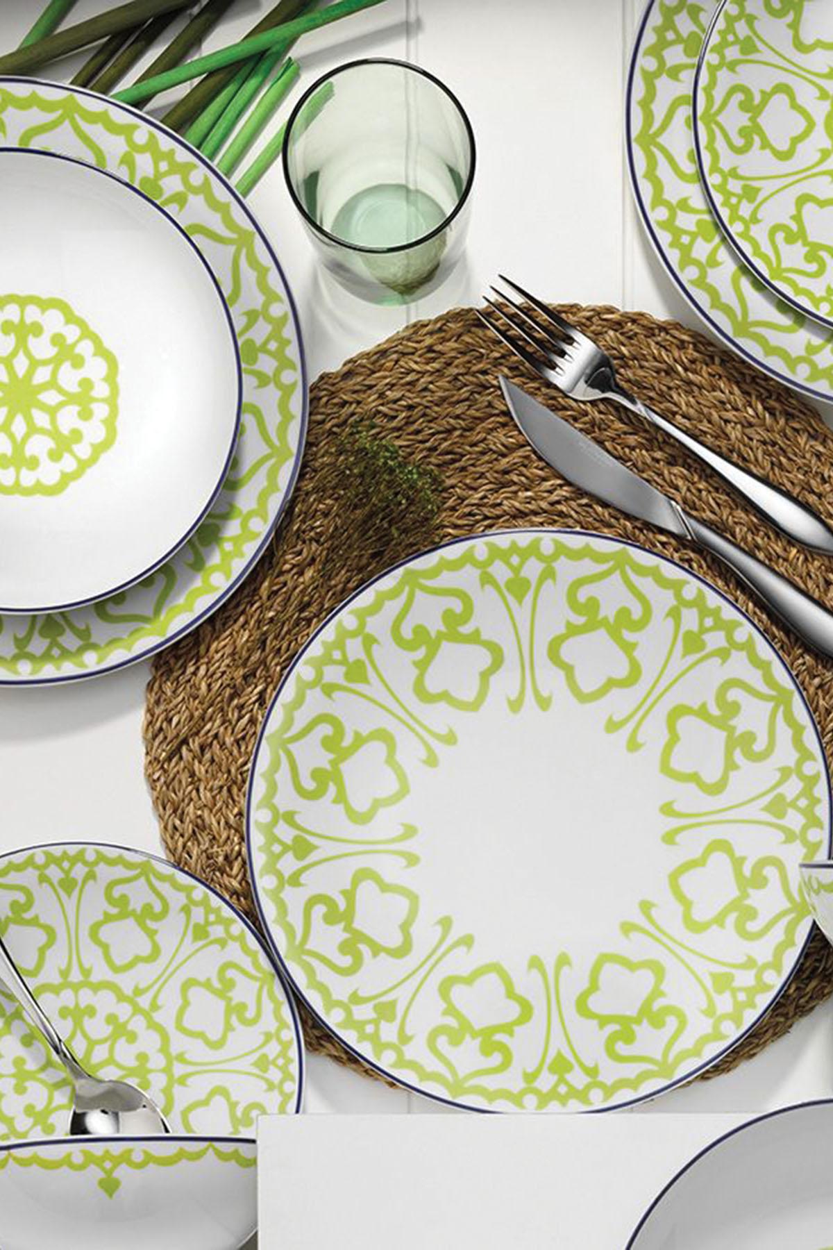 Kütahya Porselen - Kütahya Porselen 59663 Desen 24 Parça Yemek Seti Yeşil