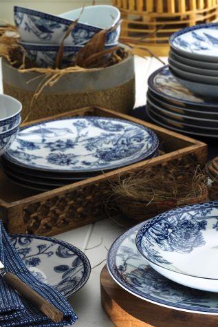 Kütahya Porselen - Kütahya Porselen Bleu Blanc 939016 Desen 24 Parça Yemek Seti