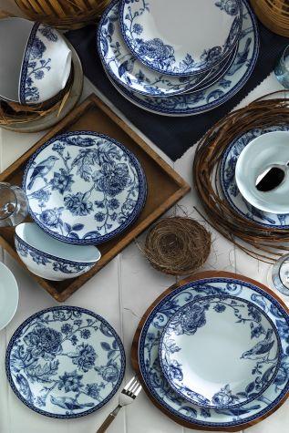 Kütahya Porselen Bleu Blanc 939016 Desen 24 Parça Yemek Seti - Thumbnail (2)