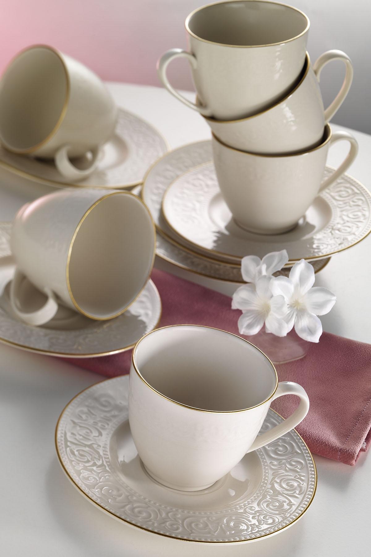 Kütahya Porselen - Kütahya Porselen Açelya Krem Altın File Çay Fincan Takımı