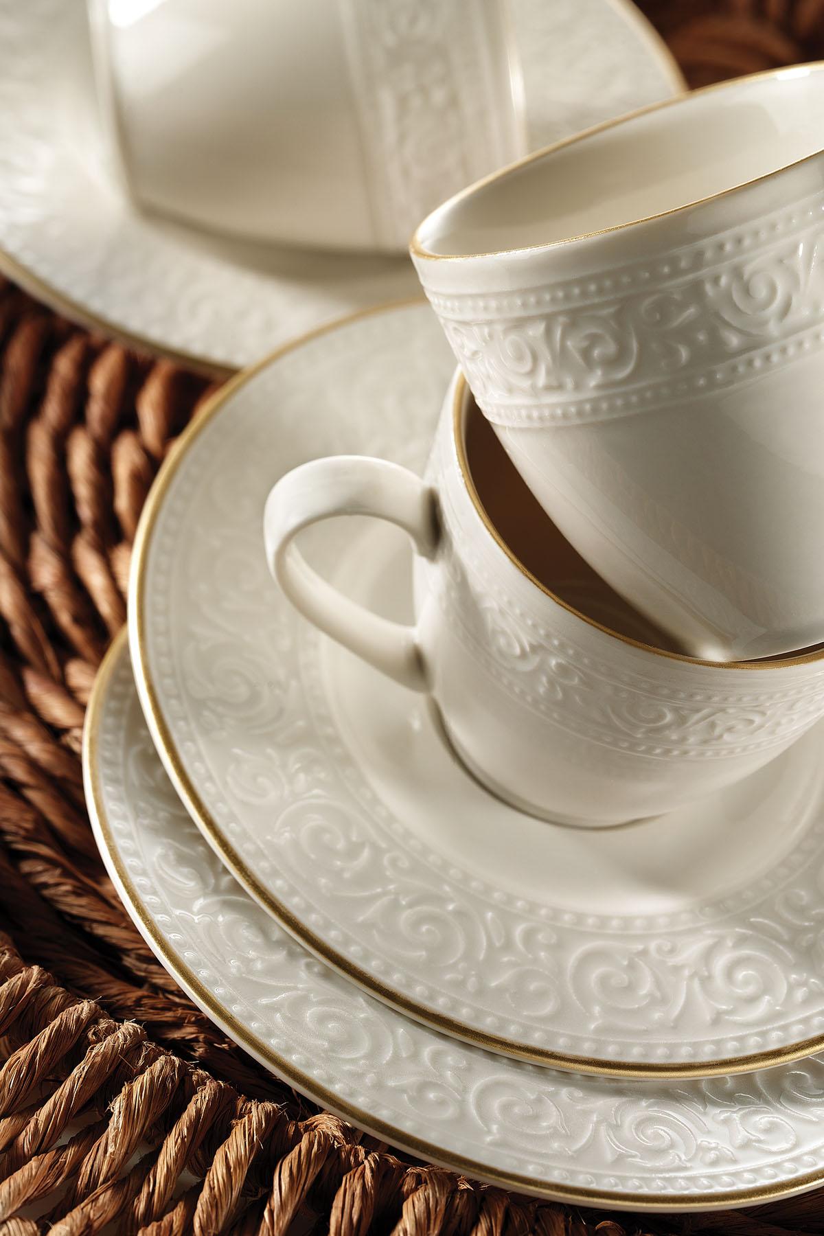 Kütahya Porselen - Kütahya Porselen Açelye Krem Altın File Kahve Fincan Takımı
