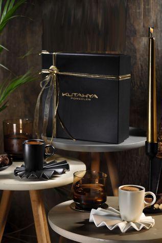 Kütahya Porselen - Kütahya Porselen Adora Kahve Takımı Siyah & Krem
