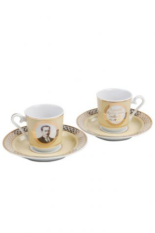 Kütahya Porselen - Kütahya Porselen Atatürk Altın Kahve Fincan Takımı