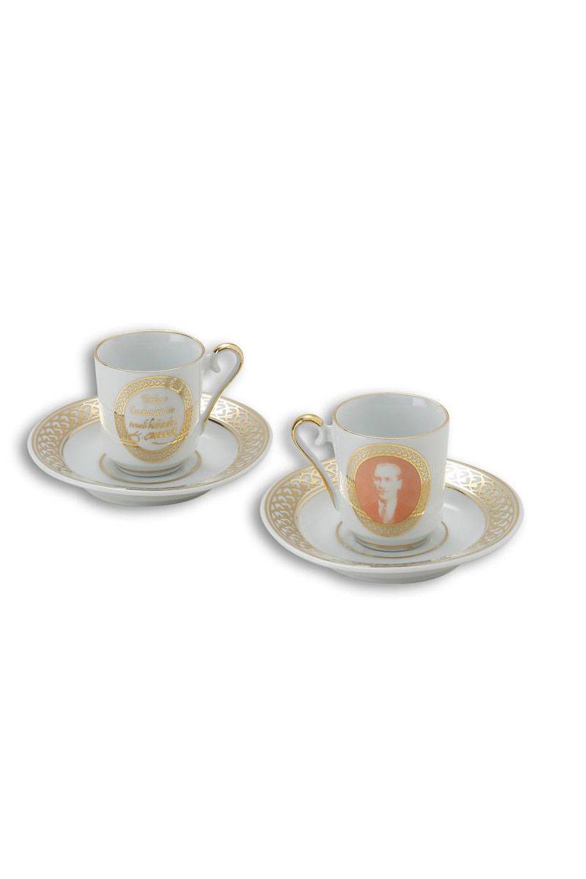 Kütahya Porselen - Kütahya Porselen Atatürk Beyaz Kahve Fincan Takımı