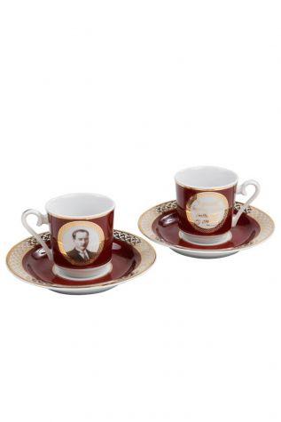 Kütahya Porselen - Kütahya Porselen Atatürk Bordo Kahve Fincan Takımı