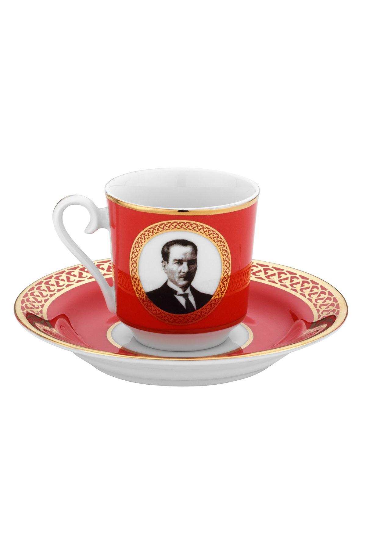 Kütahya Porselen - Kütahya Porselen Atatürk Kırmızı Kahve Takımı
