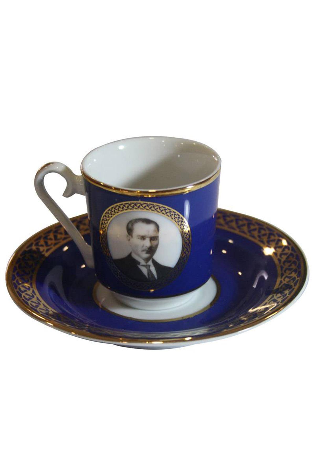 Kütahya Porselen - Kütahya Porselen Atatürk Lacivert Kahve Takımı