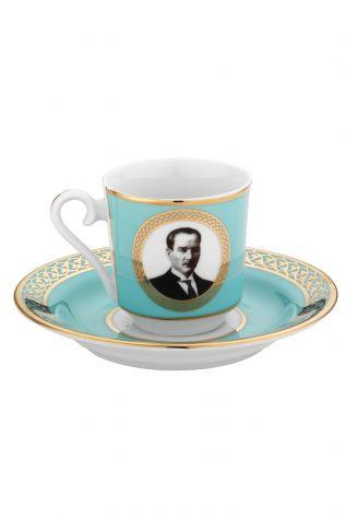 Kütahya Porselen - Kütahya Porselen Atatürk Turkuaz Kahve Takımı