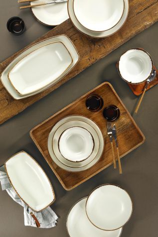 Corendon - Kütahya Porselen Corendon 51 Parça Yemek Takımı Krem