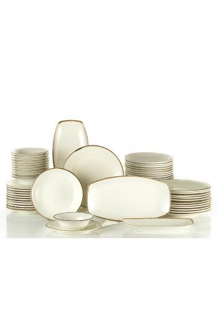 Kütahya Porselen Corendon 51 Parça Yemek Takımı Krem - Thumbnail (1)