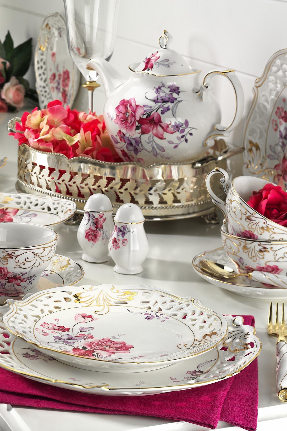 Kütahya Porselen - Kütahya Porselen Bone China 38 Parça 21101 Desen Kahvaltı Takımı