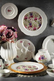 Kütahya Porselen Bone İlay 36 Parça 9838 Desen Kahvaltı Takımı - Thumbnail