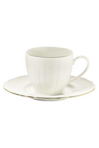Bonamore - Kütahya Porselen Bone İlay Altın File Kahve Fincan Takımı