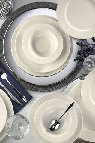 BONAMORE - Kütahya Porselen Bone İron 24 Parça Yemek Seti