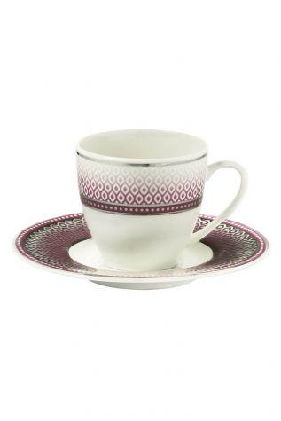 BONAMORE - Kütahya Porselen Bone Kalipso 9203 Desen Kahve Fincan Takımı