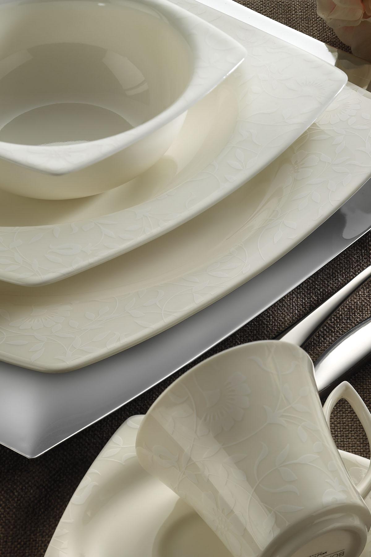 BONAMORE - Kütahya Porselen Bone Mare 68 Parça 9849 Desenli Yemek Takımı