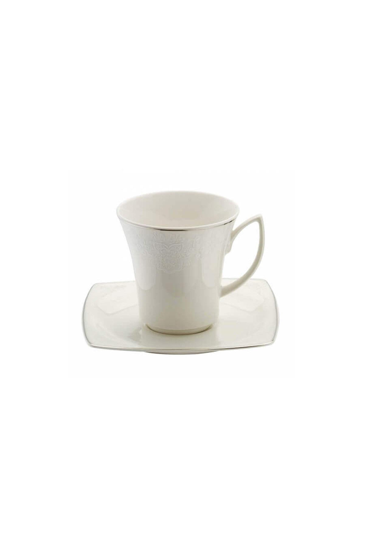 Kütahya Porselen Bone Mare 955920 Desen Kahve Fincan Takımı Platin