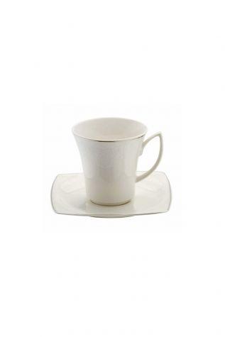 BONAMORE - Kütahya Porselen Bone Mare 955920 Desen Kahve Fincan Takımı Platin