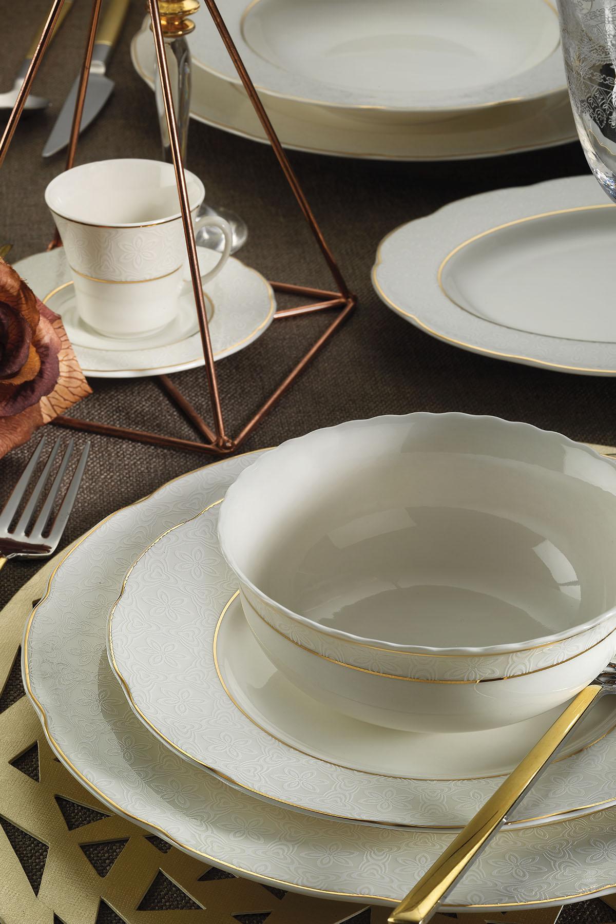 BONAMORE - Kütahya Porselen Bone Olympos 68 Parça 10068 Desenli Yemek Takımı