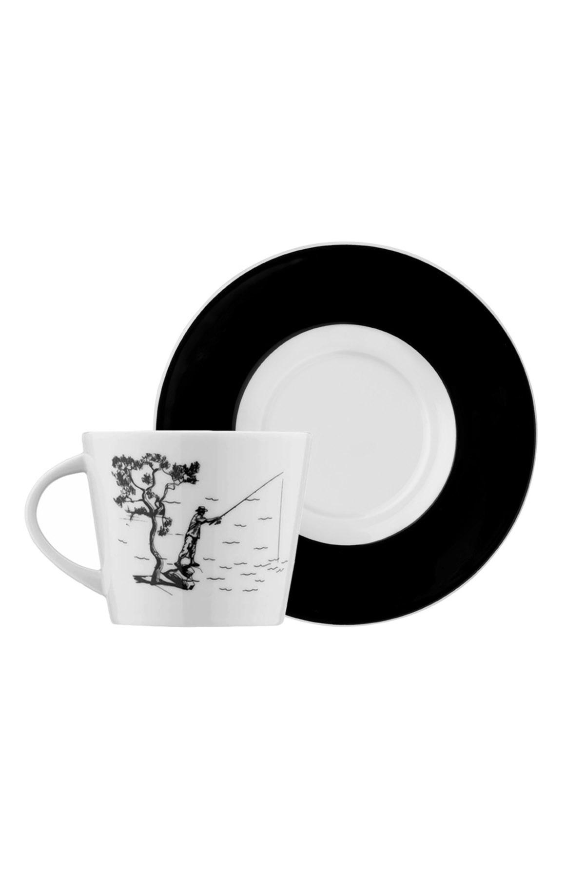 Kütahya Porselen - Kütahya Porselen Centilmen Serisi Kahve Fincan Takımı Balıkçı