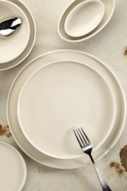 Kütahya Porselen Chef Taste Of 28 cm Düz Tabak Krem - Thumbnail