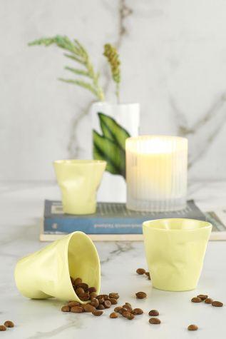 Kütahya Porselen - Kütahya Porselen Crash 3'lü Kahve Seti Sarı