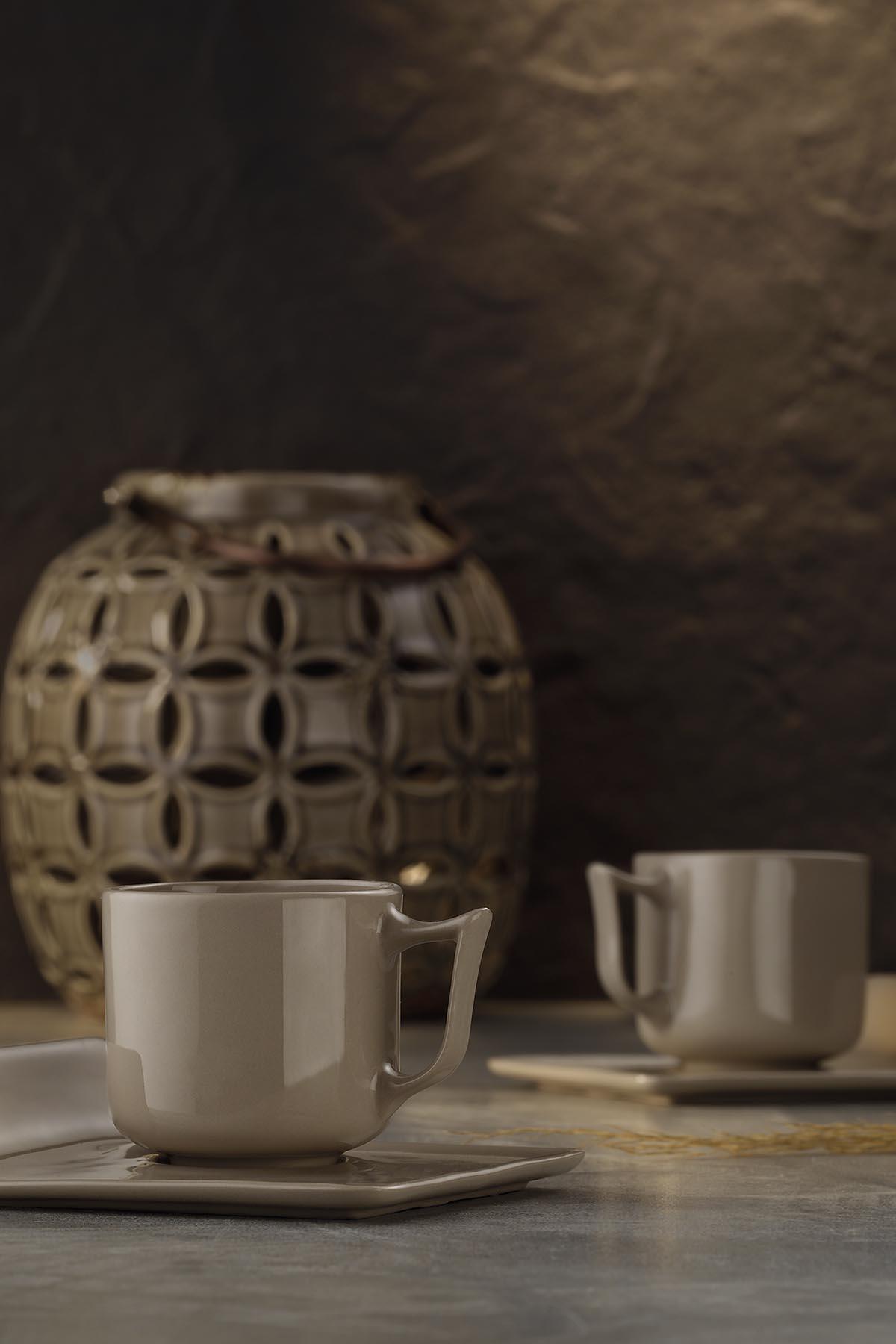 Kütahya Porselen Despina 4 Parça Kahve Takımı Bej