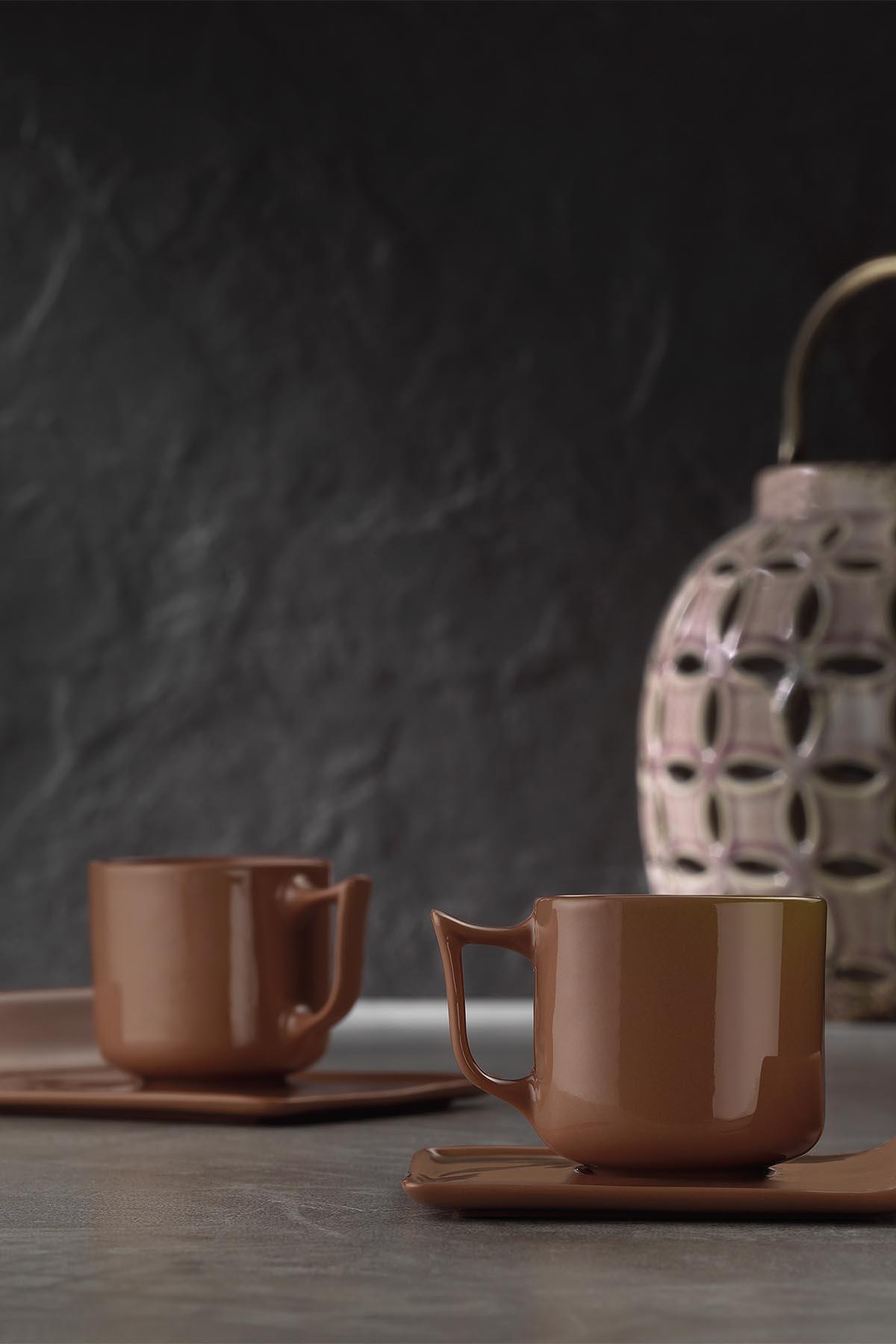 Kütahya Porselen Despina 4 Parça Kahve Takımı Kırmızı