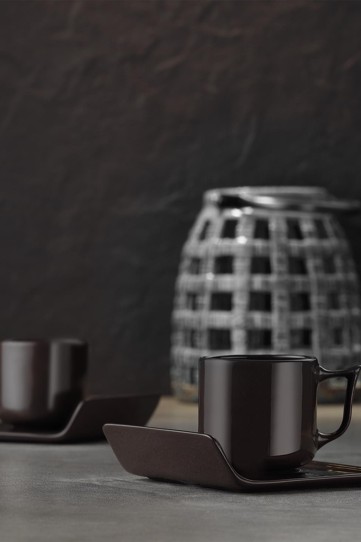 Kütahya Porselen Despina 4 Parça Kahve Takımı Siyah