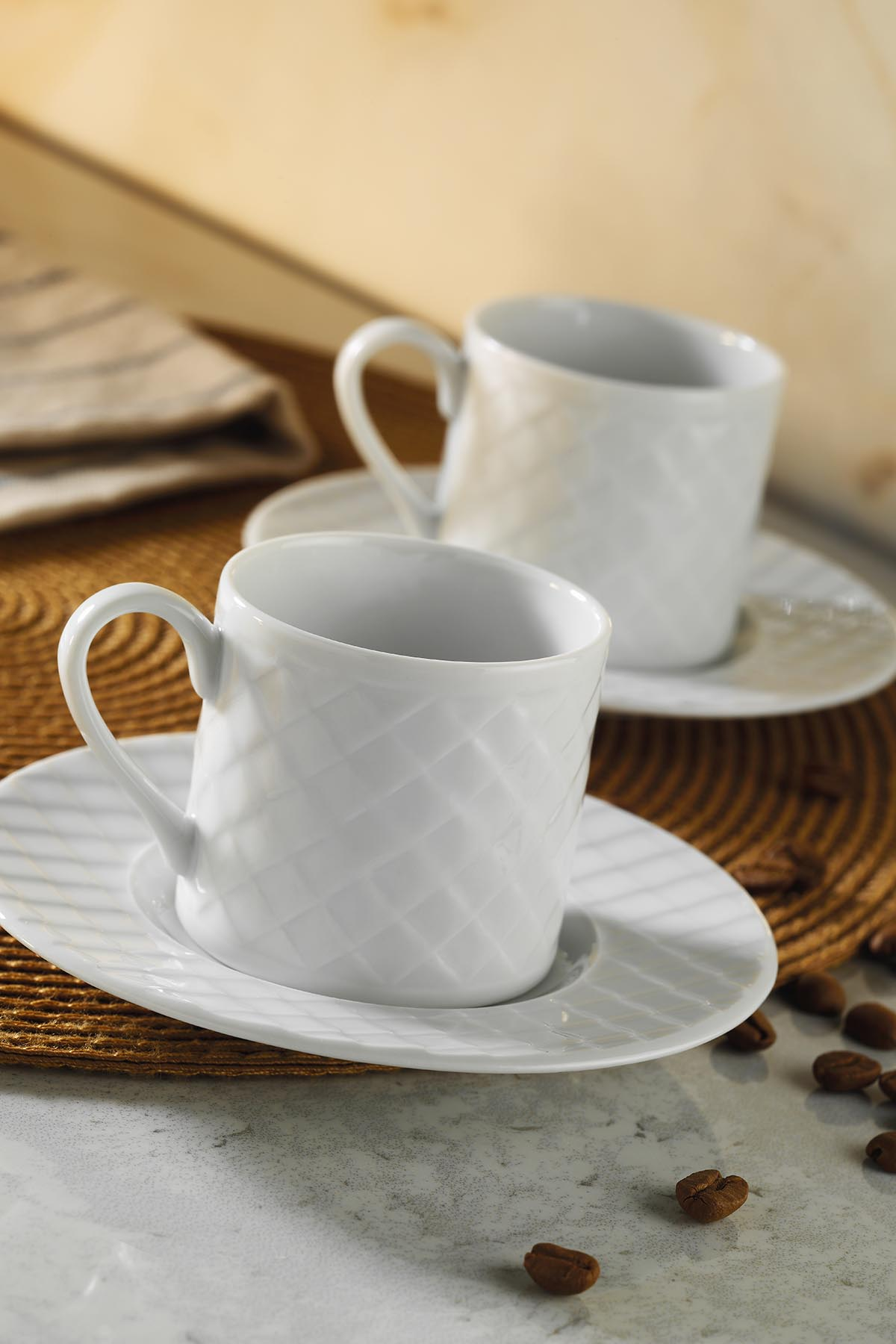 KÜTAHYA PORSELEN - Kütahya Porselen Ekose Kahve Takımı