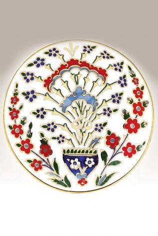 Kütahya Porselen - Kütahya Porselen Duvar Tabağı 13 cm Dekor No:167
